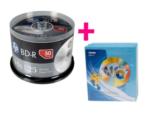 Bluray-Virgen-HP-X-50 discos-25gb+Felpa-X-100-Unidades