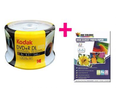 dvd-doble-capa-8.5gb-kodak+resma-de-papel-fotografico-230g